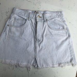 High Waisted Light Demin Mini Skirt